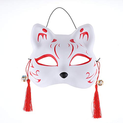 iEFiEL Hand-Painted Half Face Cat Mask with Tassels and Bells for Japanese Kabuki Masquerade Party A One Size ()