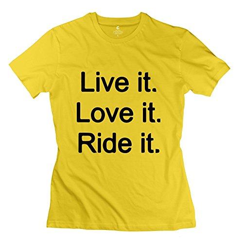 AOPO Dirt Bike Live It Love It Ride It T Shirts For Women Large Yellow
