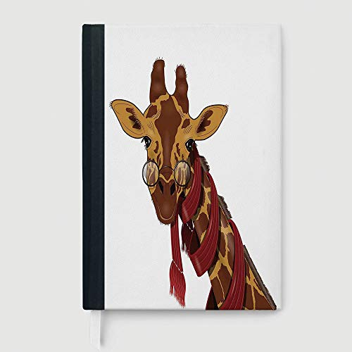 Portable Notebook,Cartoon,Composition Book/Notebook,Illustration of Giraffe Wearing Glasses in a Red Scarf Smart Looking Fun Art,96 sheets/192 pages,A5/8.24x5.73 in ()