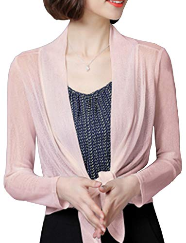 Bolero Cardigans for Women Casual Office Warm Open Front Lace Shrug Top(Pink,XL)