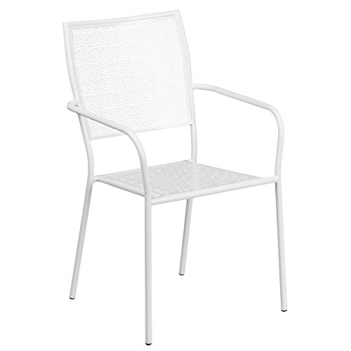 Flash Furniture Indoor-Outdoor Steel Patio Arm Chair with Sq