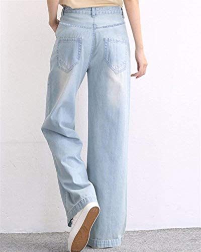 Alta Bolsillos Bleu Recto Mujer Con Cintura Holgados De Bastante Vaqueros Pantalones Corte Ancha Pierna Clair OwfFPxqz