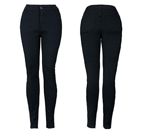 largos Regular Pitillo Mujer Negro Otoño Fit adecuado Primavera Jeans Vaqueros Pantalones Skinny leggings g11nIZBq