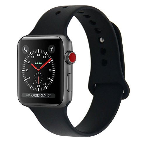 Shielda Silicone Sport Strap Replacement Band for Apple Watch Series 3 / 2 / 1 38MM (TYPE Y - Black)