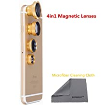 WONBSDOM 4 in 1 Universal Magnetic Detacheable Fish Eye Lens+Macro+Wide Angle+Telephoto Lens(Golden)with Microfiber Cleaning Cloth for iPhone 4S 5 5S 5C 6 itouch Samsung Galaxy S4/S5/Note 2/3/4 Blackberry HTC Sony Nokia LG Motorola,etc.