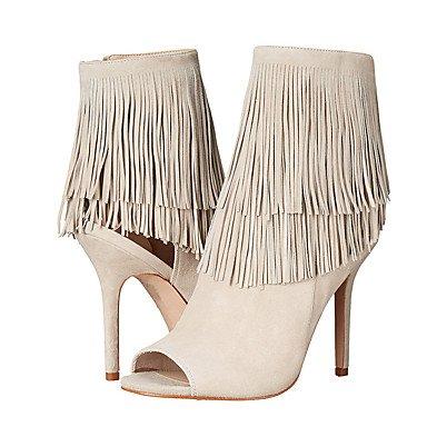 Confort Blanca de de UK6 casuales UE PU Mujer RUGAI sandalias CN40 UE39 tacones Moda US8 Beige 5 zapatos Verano 5 w7q17xREP