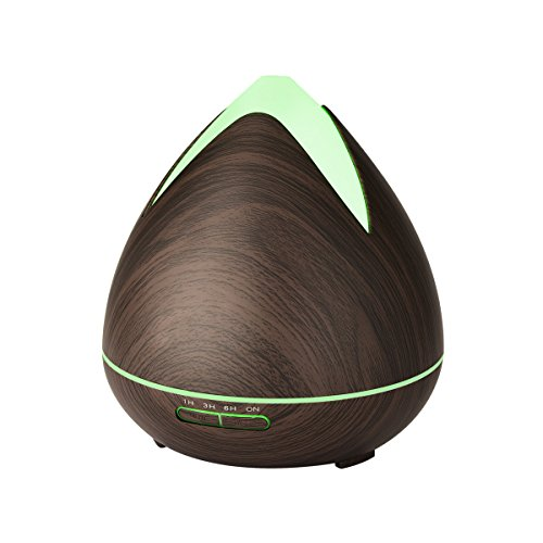Di'omani Essential Oil Diffuser Large Humidifier Purifier 400ml Quiet Mist Aromatherapy Ultrasonic Relaxing 7 Color Changing LED Lights Safe Auto Shut-off For Baby Kids Office Home - Wood Grain by Di'omani