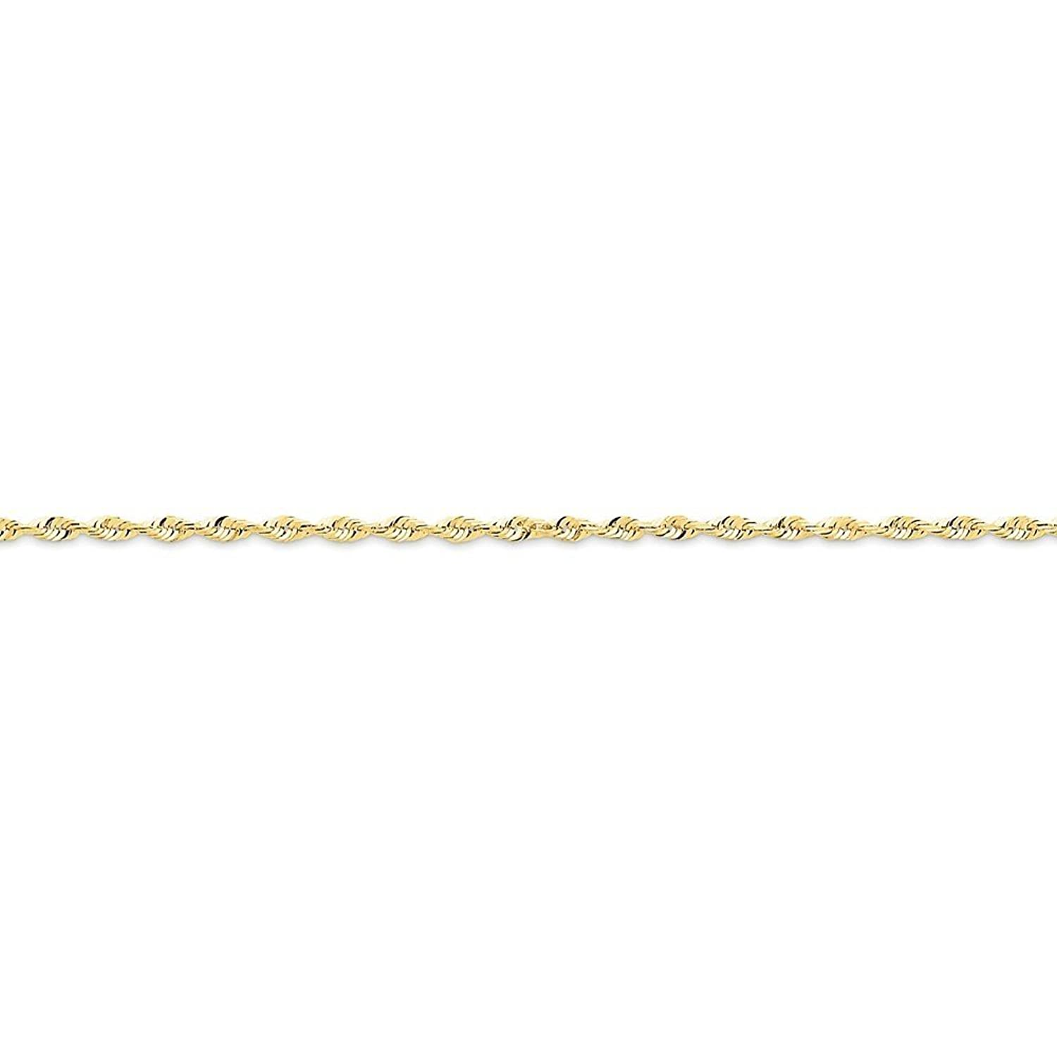 """10K Yellow Gold 2.0mm Faceted-Cut Extra-Lite Rope Chain Anklet, 10"""""""