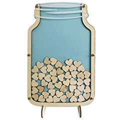 Marson Jar guest book size:40X26cm;Inside small heart size: around 3cm;Packing:1 x bottle frame , 100pcs wooden heart pcs,1 x easy to assemble table stand made from wood;Material :wood and acrylic ;The top acrylic can easily be removed to re-...