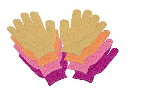 4 Paar Massage-Peeling-Dusch-Waschhandschuhe pink, rosa, orange, gelb