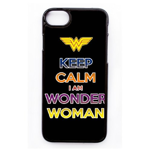 Coque,Apple Coque iphone 7 (4.7 pouce) Case Coque, Generic Keep Calm-I Am Wonder Woman Cover Case Cover for Coque iphone 7 (4.7 pouce) Noir Hard Plastic Phone Case Cover