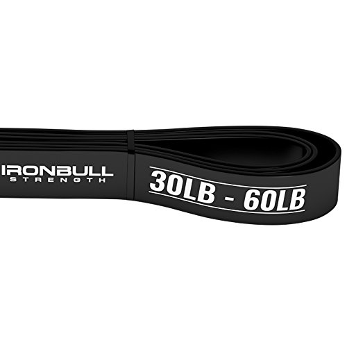 Pull Up Assist Band, Premium Stretch Resistance Bands - Mobility Bands - Powerlifting Bands - Extra Durable and Heavy Duty Pull-Up Bands - Works with Any Pullup Station (#2 Black - 30 to 60 lb) by Iron Bull Strength (Image #1)