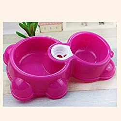 Agordo Dish Water Food Feeder Fountain Bear Double Bowl Hot Puppy Dog Cat Pet Bowl KW