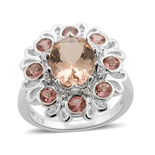 925 Sterling Silver 2.4 cttw Oval Morganite Multi Gemstone Cluster Ring Size 7 (Gemstone Cluster Multi Ring)