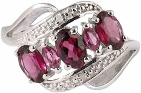 Banithani Garnet 925 Gemstone Finger Ring/ Silver Rings Wedding Women Jewelry
