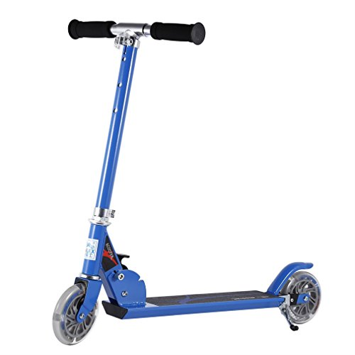 Scooter for Children, OUTAD Lightweight, Super-Tough and Adjustable Aluminum Foldable Kids Kick (2 Blue Wheels)