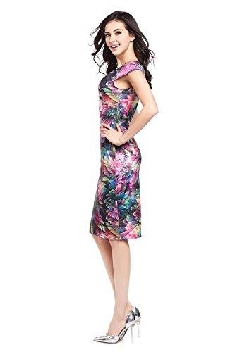 Summer Fashion Square Neck Reizvoller Dünner Pakethüftekleid Federdruck:  Amazon.de: Bekleidung