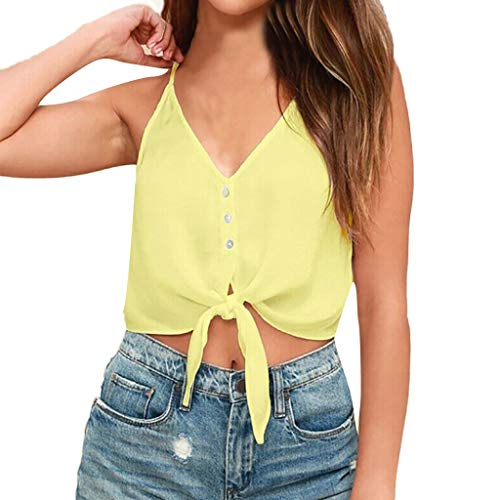 Benficial Women Summer Strappy V Neck Lace Up Tanks Tops Vest Blouse Crop Cami Camisole Yellow