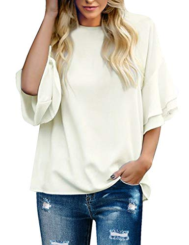 Maolijer Women's Crewneck Casual 3/4 Ruffle Sleeve Blouses Loose Tops Shirt