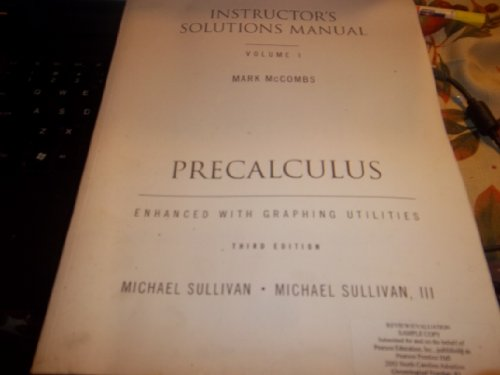Precalculus Instructor's Solutions Manual (Volume 1)