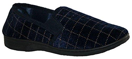Pantuflas para hombre sin cordones y con doble refuerzo a los lados azul marino
