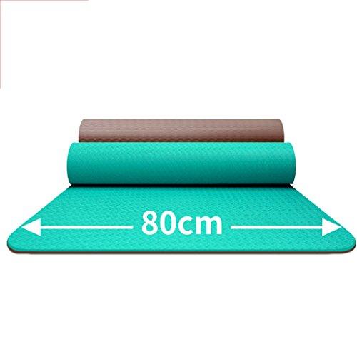 LILY Tapis de yoga insipide de 80cm élargi par deux couleurs de Tpe, tapis imperméable antidérapant long de forme physique, 183 * 80 cm
