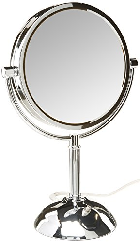 Jerdon HL8808CL 8.5-Inch Tabletop Two-Sided Swivel LED Lighted Vanity Mirror with 8x Magnification, 3-Light Settings, Chrome Finish