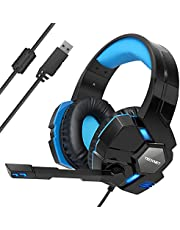 Gaming Headset,TeckNet 7.1 Channel Surround Sound Over-Ear Gaming Headband With Blue LED Lighting, Noise Cancelling Microphone & Volume Control For PC Computer