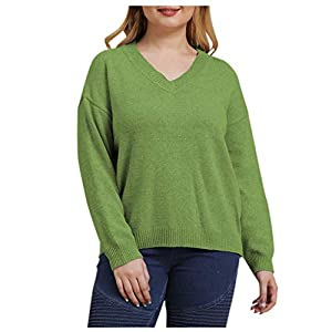 RUIVE Large Size Knitwear for Women's Sweater Fall Winter Casual V-Neck Loose Solid Color Top Blouse