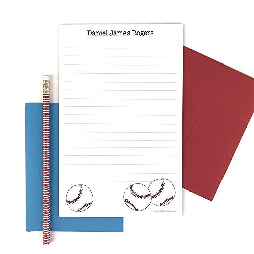 Baseball Personalized Stationery Set, Stationery Letter Sheets, Writing Paper Pads, Custom Stationary Set