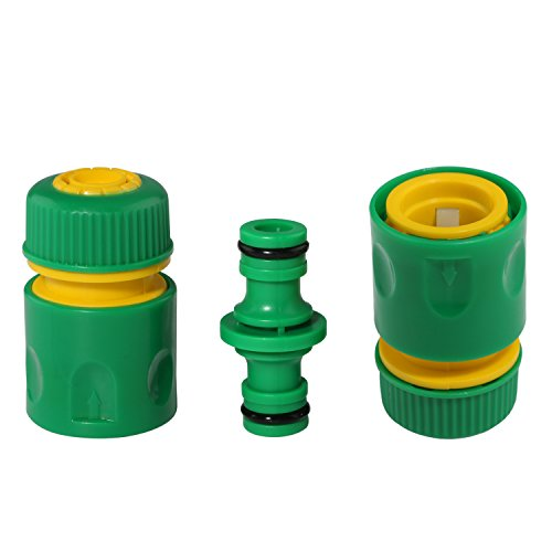 2PCS Garden Hose Pipe Water Connector Joiner Quick Fix Coupler+1PCS 2 Way Adapter Tap Connector Fitting Garden Irrigation System Components (1/2'') (Quick Connect Faucet Coupler)