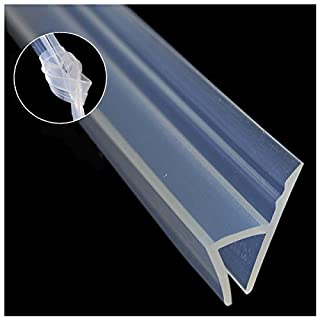 """Glass Shower Door Seal Strip(Need Silicone Glue), 120inch Frameless Weather Stripping Seal Sweep for Door Windows, Flexible with Durable Weatherproof Silicone for 3/8"""" Glass (h Shape)"""