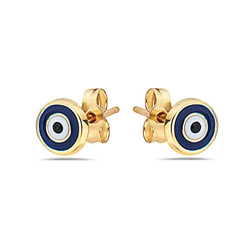 Pori Jewelers 14K Solid Gold Evil Eye Stud Earrings-with Real 14K Gold Butterfly Backings (Yellow)