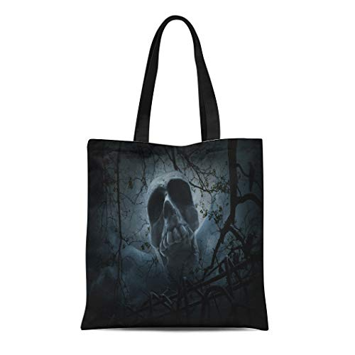 Semtomn Canvas Bag Resuable Tote Grocery Adorable Shopping Portablebags Human Skull Old Fence Over Dead Tree Crow Moon and Cloudy Sky Spooky Halloween Natural 14 x 16 Inches Canvas Cloth Tote Bag]()