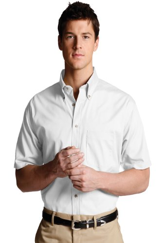 Edwards Garment Mens Business Short Sleeve Wood Tone Buttons Poplin Shirt