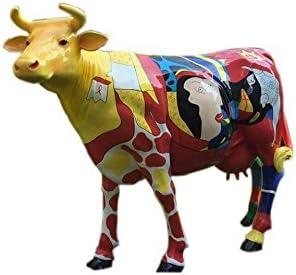 Diseño antiguo, diseño de vaca de tamaño real, estilo moderno, diseño de animales de tamaño real, pintura abstracta: Amazon.es: Jardín