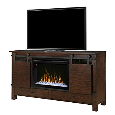 DIMPLEX Electric Fireplace, TV Stand, Media Console, Space Heater and Entertainment Center with Glass Ember Bed Set in Harper Brown Finish - Austin #GDS33GD-1670HB