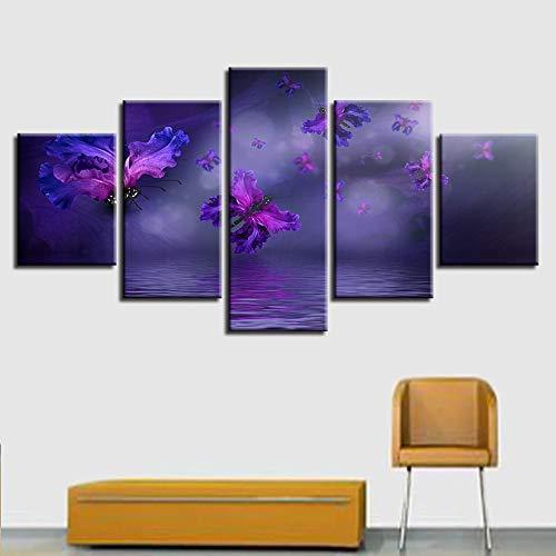 descuento GUDOJK Canvas He Decor HD Imprime Imprime Imprime Fotos 5 Unidades Flor Púrpura Mariposas Pinturas Abstract Poster Living Ro Wall Art Framework 20x35 20x45 20x55cm  tiendas minoristas