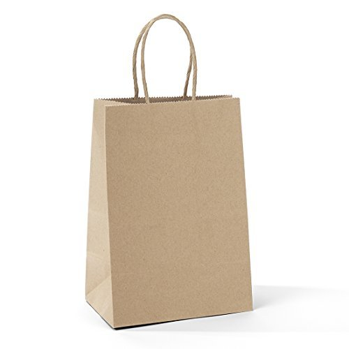 "Halulu 100pcs 5.25"" x 3.75"" x 8 "" Brown Kraft Paper Bags,Handled, Shopping, Gift, Merchandise, Carry, Retail,Party Bags"
