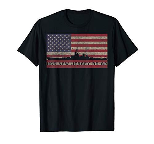 USS New Jersey Battleship T-Shirt Gift USA American Flag Tee