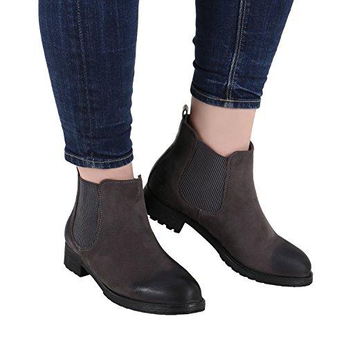 Stiefelparadies Damen Chelsea Boots Plateau Stiefeletten Profilsohle Schuhe Velours Metallic Booties Knöchelhohe Stiefel Blockabsatz Plateauschuhe Flandell Grau Avion