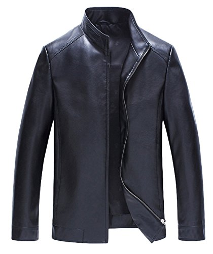 ATHX Men's Simple Slim Fit Stand Collar PU Leather Thin Jacket Coat (Large, Black)