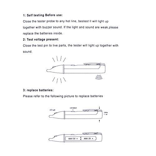 freebily circuito eléctrico voltaje sin contacto detector de alerta probador voltios bolígrafo con luz LED intermitente indicador prueba gama 90 - 1000 V: ...