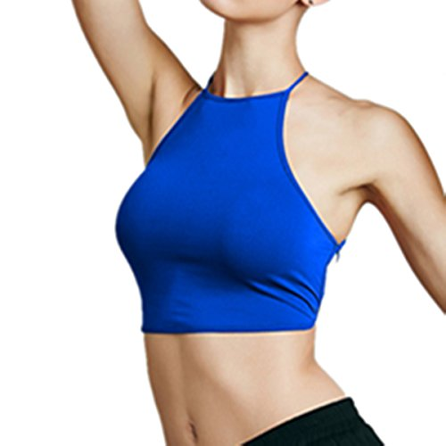 E-Papaya Sexy Boho Halter neck cross Bandage Backless Camis Bra Vest Crop Top (Royal Blue)