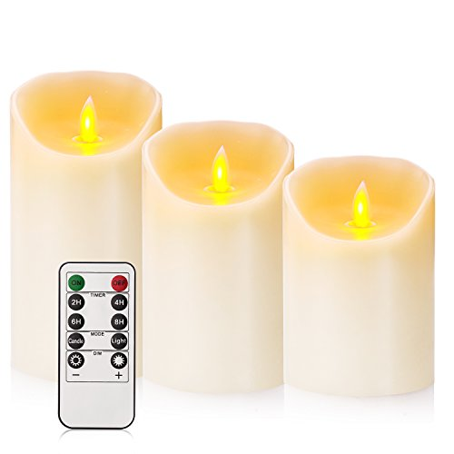 Flameless Candles 4'' 5'' 6'' Set of 3 Ivory Dripless Real Wax Pillars Include Realistic Dancing LED Flames and 10-key Remote Control with 24-hour Timer Function by Calm-life (Image #1)