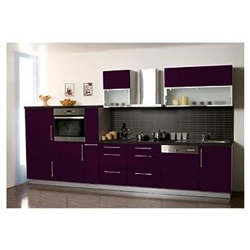 Küche Küchenzeile Küchenblock 370 cm Lila Hochglanz Kühlschrank A+ ... | {Küche lila 8}