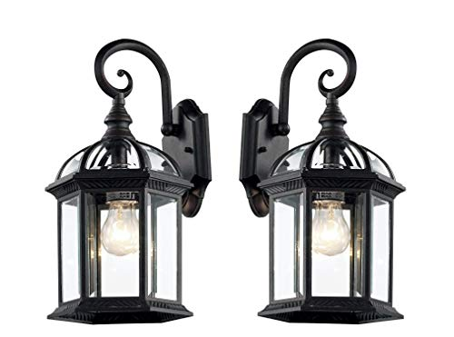 Sconce Outdoor Bottom - Wall Lanterns | Weather-Resistant Outdoor Lamps | Decorative Scroll Sconce Arm, Scalloped Edges & Clear Beveled Glass for Front Porch, Backyard & Gardens (Black 2 Pack)