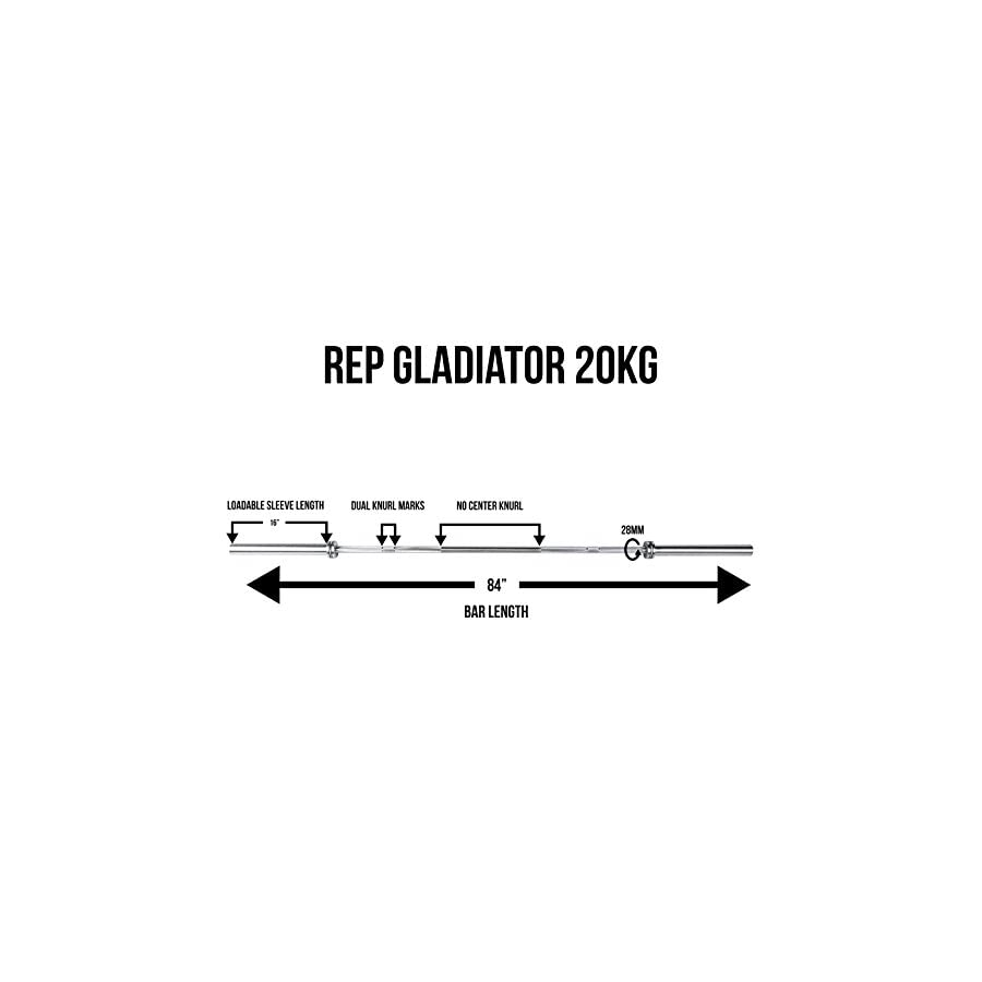 REP Gladiator Olympic Bar 1500 lb Rated with Needle Bearing Rotation Elite Barbell for Cross Training, Olympic Weightlifting, and Power Lifting