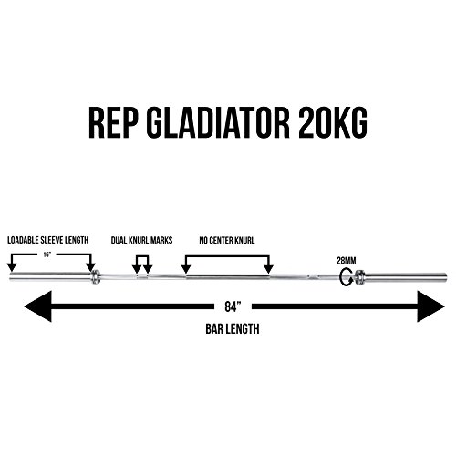Rep Gladiator Olympic Bar 1500 lb Rated Barbell for Cross Training, Olympic Weightlifting, and Power Lifting