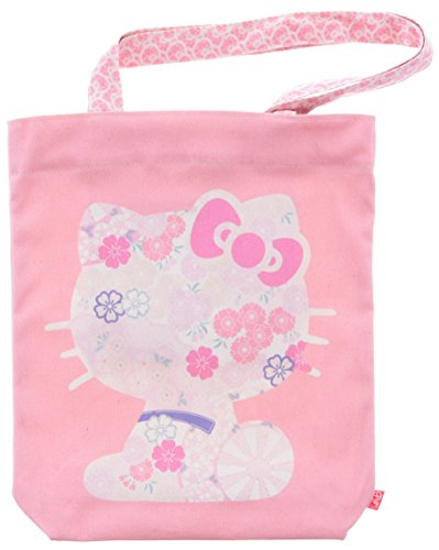 Five-colored canvas Hall x KYOTO JAPAN Hello Kitty tote bag A4 portrait silhouette KT
